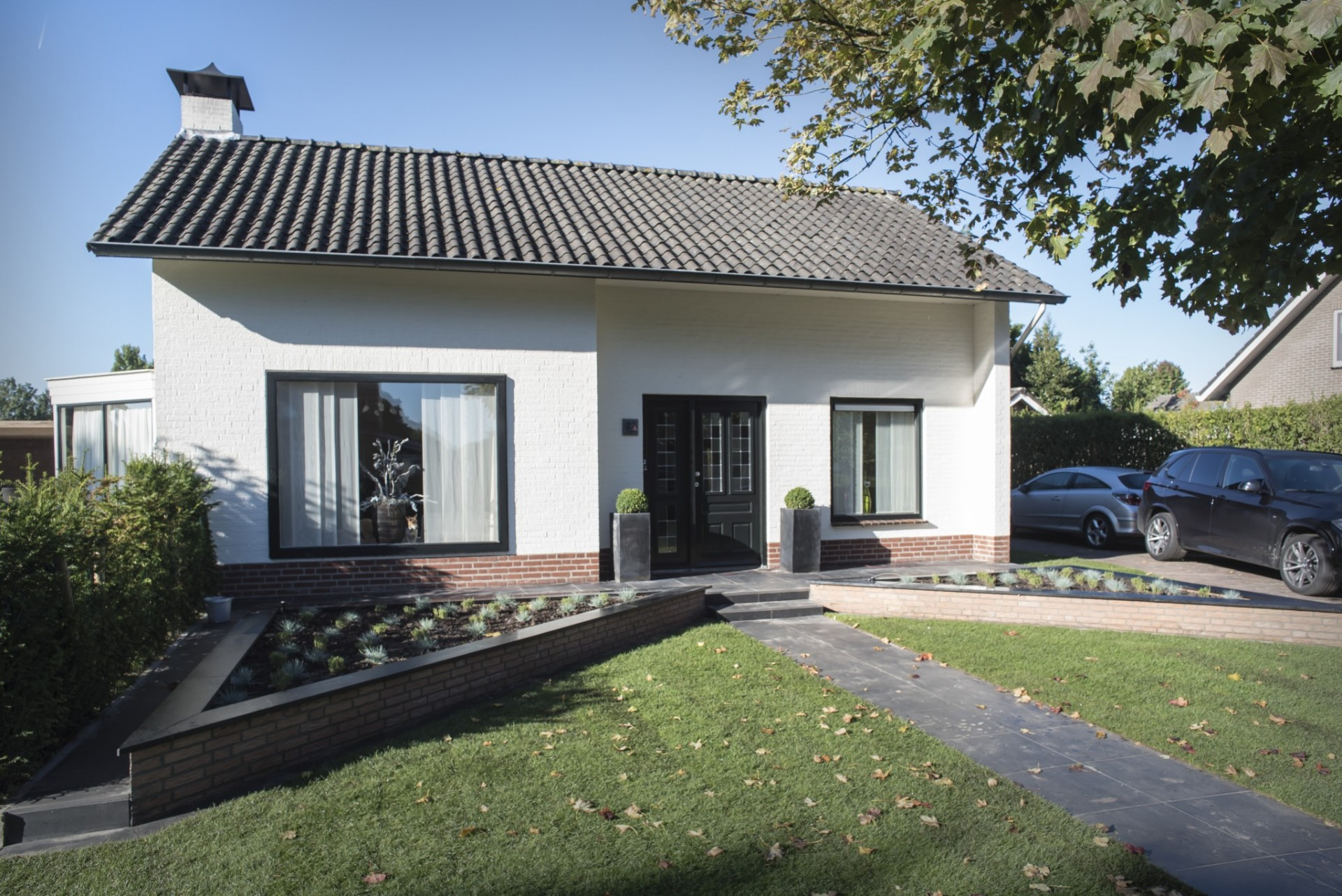 Fam Bontrup Landhorst Moderne Tuin Met Verdiept Terras En Strakke